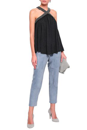 Brunello Cucinelli Woman Bead-Embellished Cashmere And Silk-Blend Halterneck Top Charcoal