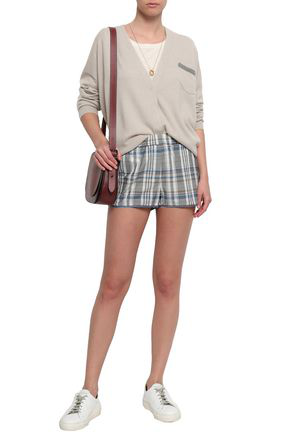 Brunello Cucinelli Woman Bead-embellished Checked Cotton-blend Shorts Gray