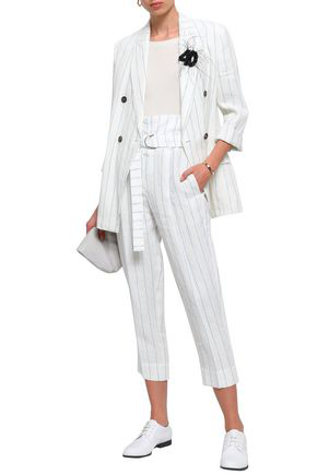 Brunello Cucinelli Belted Pinstriped Linen Tapered Pants In White