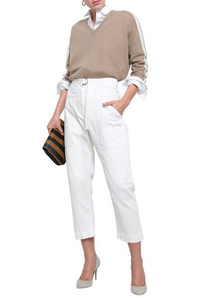Brunello Cucinelli Belted High-rise Tapered Jeans In Ivory
