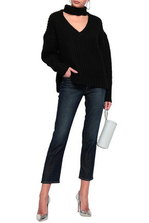 Cinq À Sept Woman Cutout Marled Knitted Sweater Black