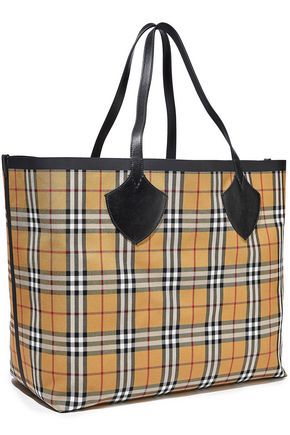 Burberry Woman Giant Reversible Leather-trimmed Checked Bonded-cotton Tote Yellow