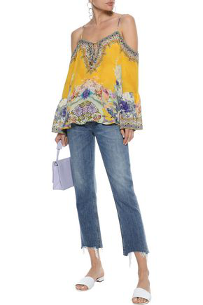 Camilla Mellow Muse Cold-shoulder Embellished Washed-silk Blouse In Multicolor