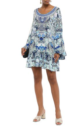 Camilla Geisha Girl Off-the-shouder Embellished Silk Crepe De Chine Mini Dress In Blue