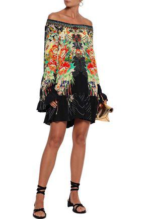 Camilla Woman Queen Of Kings Off-the-shoulder Printed Silk Crepe De Chine Mini Dress Multicolor