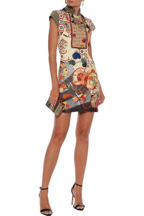 Camilla Woman Kissing The Sun Cutout Embellished Ponte Mini Dress Multicolor
