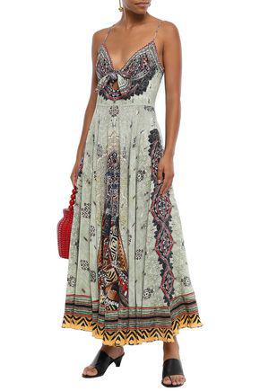 Camilla Woman Knotted Printed Silk Crepe De Chine Maxi Dress Sage Green