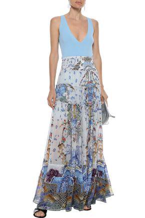 Camilla Woman Geisha Gateways Crystal-embellished Printed Silk-georgette Maxi Skirt Sky Blue