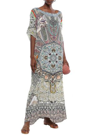 Camilla Soul Sisters Crystal-embellished Printed Silk Crepe De Chine Coverup In Cream