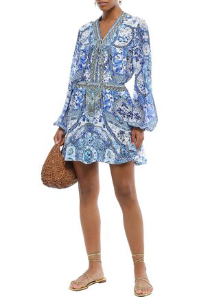 Camilla Lace-up Embellished Printed Silk Crepe De Chine Blouse In Blue