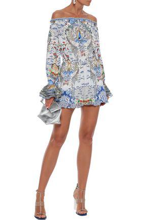 Camilla Geisha Gateways Off-the-shoulder Embellished Silk-chiffon Playsuit In Multicolor