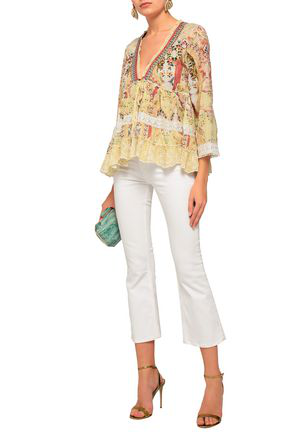 Camilla Woman Embellished Broderie Anglaise-trimmed Printed Gauze Blouse Pastel Yellow