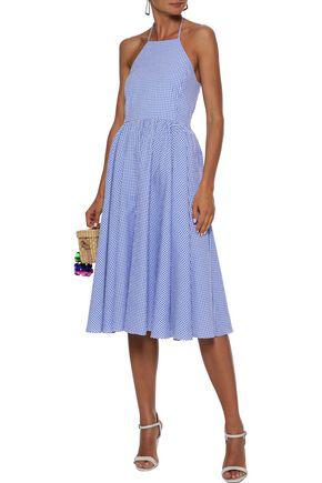 Caroline Constas Woman Gretta Gingham Cotton-seersucker Halterneck Dress Light Blue