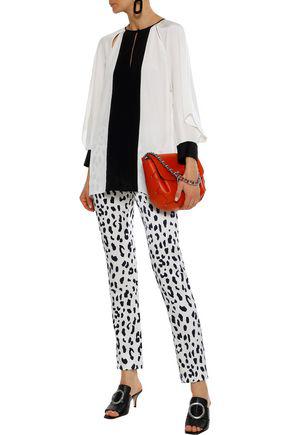 Diane Von Furstenberg Aime Cutout Two-tone Silk Blouse In Ivory