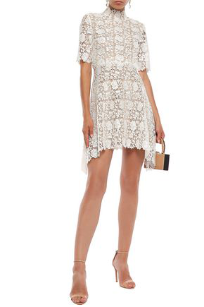 Catherine Deane Woman Jeanne Fluted Guipure Lace Mini Dress White