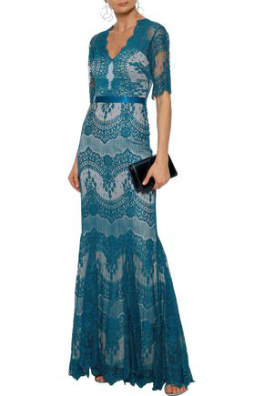 Catherine Deane Woman Kelly Satin-trimmed Lace Gown Teal