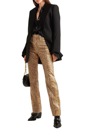 ChloÉ Snake-effect Leather Straight-leg Pants In Animal Print