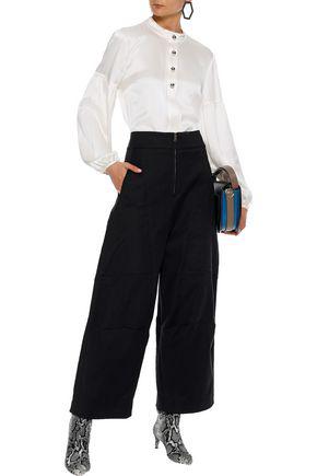 ChloÉ Woman Cropped Stretch-cotton Wide-leg Pants Black