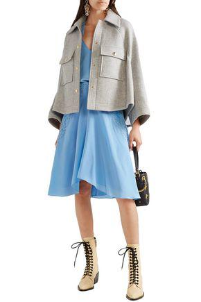 ChloÉ Woman Button-embellished Ruched Crochet-paneled Silk Crepe De Chine Skirt Light Blue