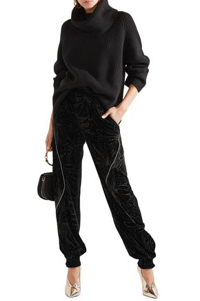 ChloÉ Embellished Printed Velvet Track Pants In Black
