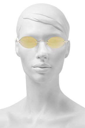 Christopher Kane Woman Oval-frame Gold-tone Mirrored Sunglasses Gold