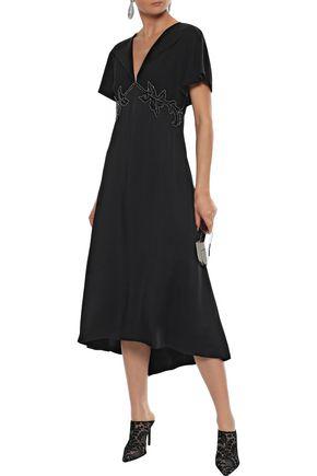 Christopher Kane Embellished Crepe And Satin Midi Dress In Black