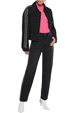 Christopher Kane Woman Cropped Crystal-embellished Denim Jacket Black