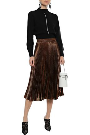 Christopher Kane Pleated Silk-blend LamÉ Midi Skirt In Copper