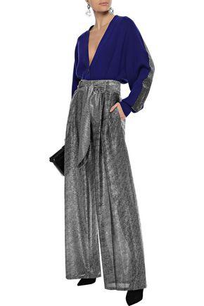 Christopher Kane Woman Belted Metallic Mesh Wide-leg Pants Silver