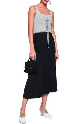 Cinq À Sept Woman Sabine Lace-up Shirred Cotton-blend Jersey Tank Light Gray