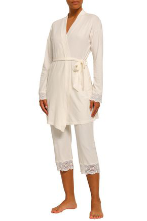 Cosabella Lace-trimmed Cotton-blend Jersey Robe In Ivory