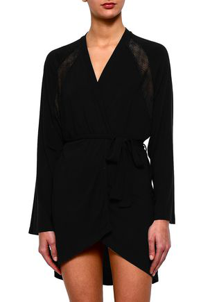 Cosabella Woman Lace-trimmed Modal-blend Jersey Robe Black