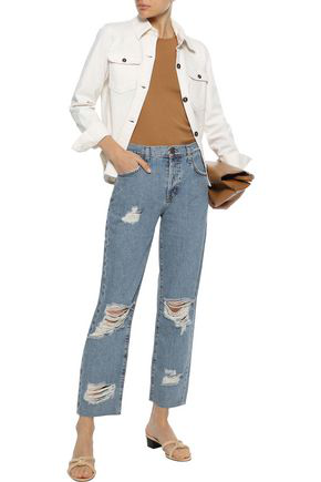 Current Elliott Current/elliott Woman The Original Straight Cropped Distressed High-rise Straight-leg Jeans Mid Deni In Mid Denim
