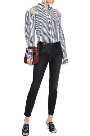 Current Elliott Current/elliott Woman Faux Leather-paneled Distressed Denim High-rise Skinny Jeans Black