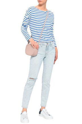 Current Elliott Distressed Mid-rise Skinny Jeans In Light Denim