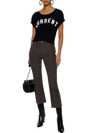 Current Elliott Current/elliott Woman Cropped Cotton-blend Corduroy Straight-leg Pants Dark Gray
