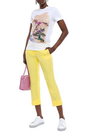 Emilio Pucci Cropped Cotton-poplin Slim-leg Pants In Pastel Yellow