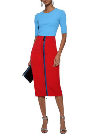 Cushnie Woman Zip-detailed Stretch-crepe Pencil Skirt Red