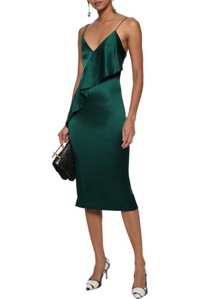 Cushnie Woman Ruffled Silk-charmeuse Slip Dress Emerald