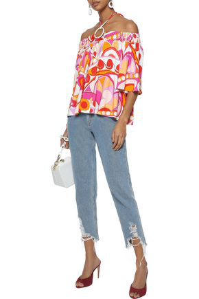 Emilio Pucci Off-the-shoulder Printed Stretch-jersey Top In Pink