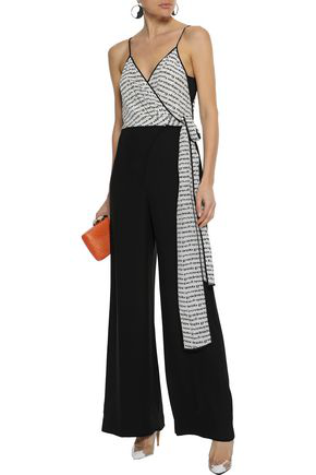 Diane Von Furstenberg Woman Barry Printed Silk And Crepe Wrap Jumpsuit Black
