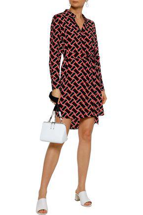 Diane Von Furstenberg Prita Printed Silk Crepe De Chine Mini Shirt Dress In Black
