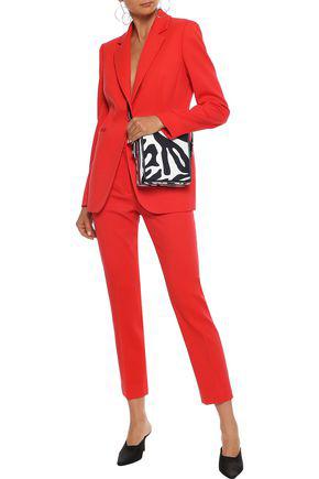 Emilio Pucci Cropped Silk-twill Slim-leg Pants In Tomato Red