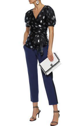 Diane Von Furstenberg Larryn Metallic Fil CoupÉ Silk-blend Satin Wrap Top In Black