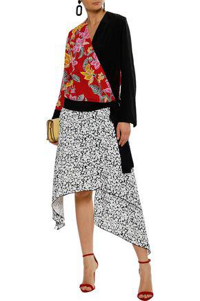 Diane Von Furstenberg Woman Paneled Floral-print Silk Wrap Top Claret