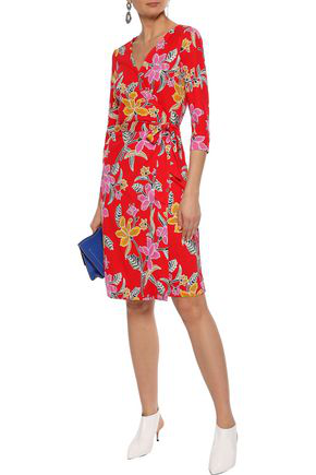 Diane Von Furstenberg Printed Silk-jersey Wrap Dress In Tomato Red