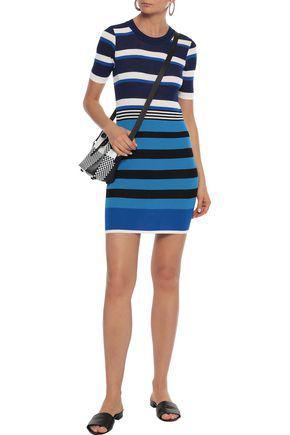 Dvf West Diane Von Furstenberg Striped Ribbed Cotton-blend Mini Dress In Blue