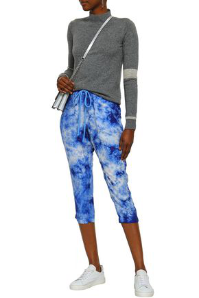 Enza Costa Cropped Tie-dye Washed-silk Tapered Pants In Blue