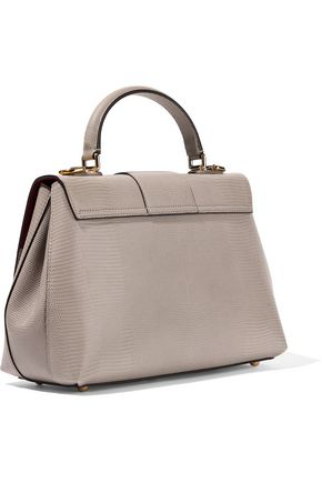 Dolce & Gabbana Woman Lucia Lizard-effect Leather Tote Taupe