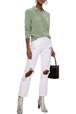 Equipment Woman Essential Washed-silk Shirt Army Green
